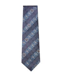 Versace - Blue Silk Floral Embroidered Tie for Men - Lyst