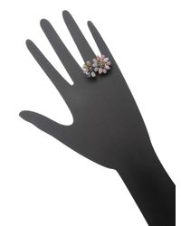Bavna - Metallic Sterling Silver Ring With Champagne Rose Cut Diamonds And Multicolored Sapphire - Lyst