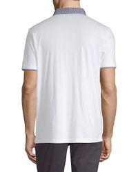 Ben Sherman - White Gingham-trimmed Cotton Polo for Men - Lyst