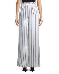 Kendall + Kylie - White Pinstripe Wide-leg Pants - Lyst