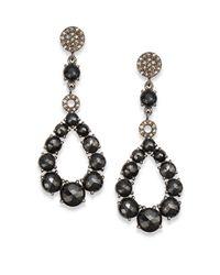 Bavna   Black Spinel Diamond  Sterling Silver Open Teardrop Earrings   Lyst