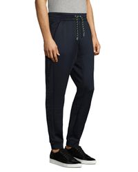 Armani Exchange - Blue Drawstring Elasticized Trousers for Men - Lyst