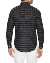 Naked & Famous - Black Geometric Print Button-down Sportshirt for Men - Lyst