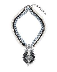 Cara | Metallic Multi-strand Pearl Pendant Necklace | Lyst