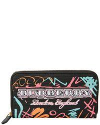 Burberry Black Printed Zip Around Wallet