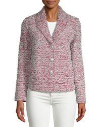 St. John - Textured Wool-blend Button Front Tweed Jacket - Lyst
