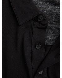 Vince - Black Cotton Mix-stitch Polo for Men - Lyst