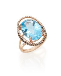 Effy - Multicolor Blue Topaz, Diamond & 14k Rose Gold Ring - Lyst