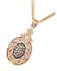 Effy - Metallic Diamond, Espresso Diamond & 14k Rose Gold Pendant Necklace - Lyst