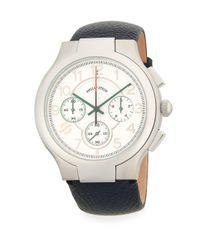 Philip Stein - Black Pebbled Strap Stainless Steel Watch - Lyst
