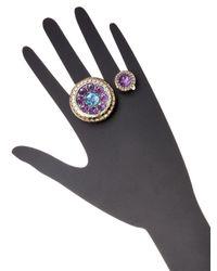 John Hardy - Batu Dot Amethyst & Swiss Blue Topaz Double Finger Ring - Lyst