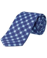 Ike Behar - Blue Navy Plaid Silk-blend Tie for Men - Lyst