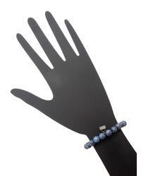 Bavna - Blue Agate Bead Stretchy Bracelet With Pave Diamond Charm Pave Diamond - Lyst