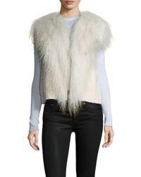 Helmut Lang - White Cotton Fur Fringe Distressed Vest - Lyst