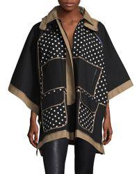 RED Valentino - Black Colorblocked Raglan Coat - Lyst