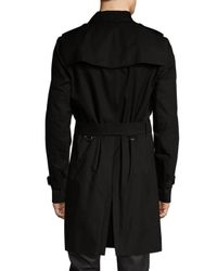 Burberry Brit - Black Spread Collar Belted Trench Coat for Men - Lyst