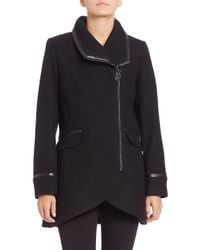 Trina Turk | Green Mackenzie Leather-trimmed Moto Coat | Lyst