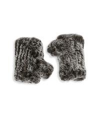 Saks Fifth Avenue Black - Multicolor Fingerless Rabbit Fur Texting Gloves - Lyst