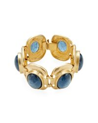 Kenneth Jay Lane - Metallic Satin Gold/sodalite Cabochons Oval Bracelet - Lyst