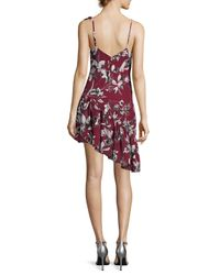 Parker - Red Ruffle Shoulder Printed Dress - Lyst