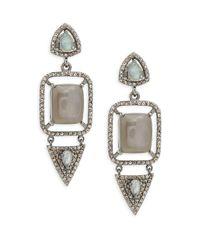 Bavna | Metallic Grey Moonstone, Labradorite & Sterling Silver Champ Rose Earrings | Lyst