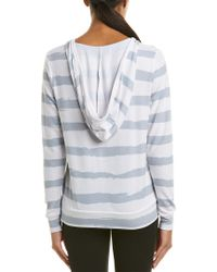 Betsey Johnson - Gray Performance Strappy Deep V-neck Hoodie - Lyst