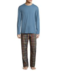 Original Penguin - Blue Plaid Cotton Pajama Set for Men - Lyst