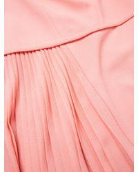 Carolina Herrera | Pink Wool 3/4 Sleeve Pleated Dress | Lyst