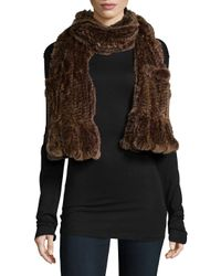 Belle Fare - Multicolor Knitted Rex Rabbit Scarf - Lyst