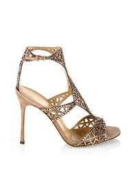 Sergio Rossi - Natural Tresor Swarovski Crystal And Suede Sandals - Lyst