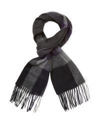 Saks Fifth Avenue - Gray Bold Herringbone Plaid Stripe Scarf for Men - Lyst
