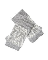 Sofia Cashmere - Gray Cashmere Fair Isle Fingerless Gloves - Lyst