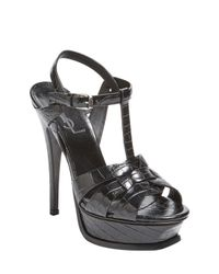 Saint Laurent - Black Embossed High Heel Sandal - Lyst