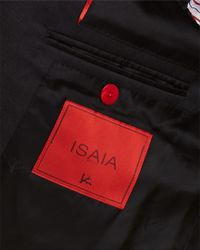 Isaia Black Wool Suit With Flat Front Pant for men
