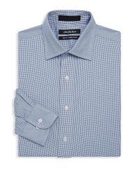 Saks Fifth Avenue Blue Houndstooth Cotton Dress Shirt for men