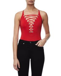 GOOD AMERICAN - Red Compression Lace Up - Lyst