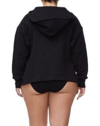 GOOD AMERICAN Black The Lace Up Hoodie