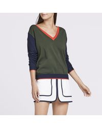Tory Sport - Blue Performance Cashmere Color-block Sweater - Lyst