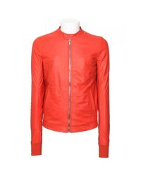 Rick Owens | Red Intarsia Leather Jacket for Men | Lyst