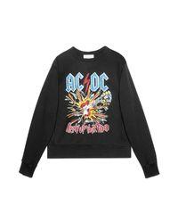 Gucci - Black Cotton Sweatshirt With Ac/dc Print for Men - Lyst