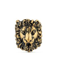 Gucci - Metallic Lion Head Ring for Men - Lyst