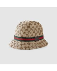 Gucci - Brown Original Gg Canvas Fedora With Web - Lyst