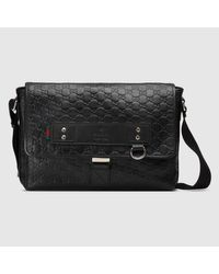 0b759dff5495 Gucci Black Ssima Leather Messenger Bag in Black for Men - Lyst