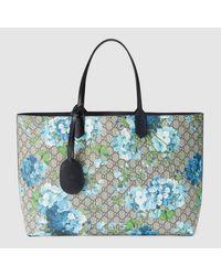 4e6d92e9183 Lyst - Gucci  reversible GG Blooms  Shopper Bag in Blue