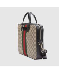 Gucci - Green Web Gg Supreme Briefcase for Men - Lyst