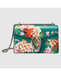 583d450abac Lyst - Gucci Dionysus Blooms Leather Shoulder Bag in Green