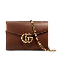 Gucci | Brown Gg Marmont Leather Mini Chain Bag | Lyst