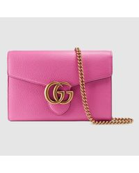 11f4868cc96 Lyst - Gucci GG Marmont Leather Mini Chain Bag in Pink