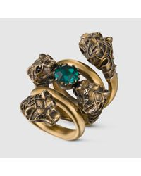 Gucci - Metallic Double Wrap Ring With Tiger Heads for Men - Lyst