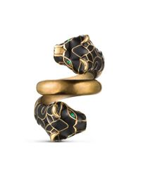 Gucci | Tiger Head Ring With Black Enamel | Lyst